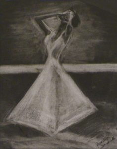 A Poet's Muse, Charcoal by Annie Jedick, 14in x 11in (April 2013)