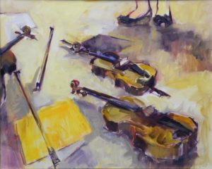 After the Concert At Kettle Run, Oil on Canvas by Nancy Bowen Brittle, 24in x 30in (April 2013)