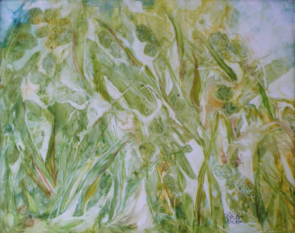 HONORABLE MENTION: Before the Harvest, Watercolor on Yupo by Rita Rose and Rae Rose, 18in x 24in (August 2013)