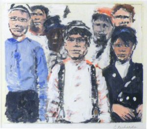Boys from the Block, Tempera Monoprint by Charlotte Richards, 7inx8in (March 2013)