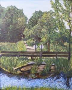Bridge Out Cranberry Creek, Oil by Eileen Carson, 20in x 16in (June 2013)
