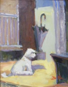 Buttons and the Umbrella, Oil on Canvas by Nancy Bowen Brittle, 14in x 11in x 2in (June 2013)