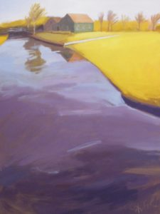 By the Canal, Acrylic by Carol Phifer, 40in x 30in (May 2013)