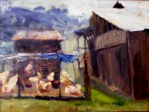 Chicken Coop, Oil by Lynn Mehta, 12in x 16in (June 2013)