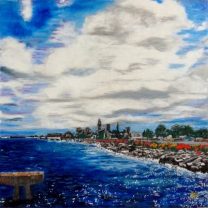Cleveland Rocks, Oil Pastels by Guerin Wolf, 30in x 30in (April 2013)