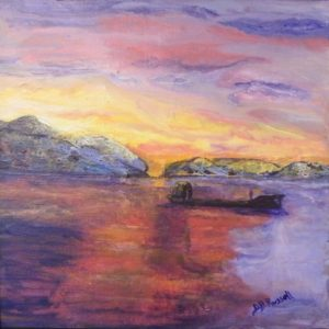 Fiery Passage, Tierra Del Fuego, Acrylic by Diane B. Russell, 12in x 12in (June 2013)