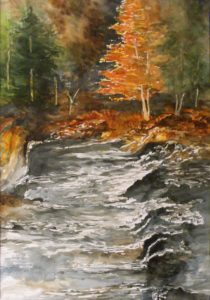 Lepreau Falls, New Brunswick, Watercolor by Sandra Staley, Unframed 20in x 14in Framed 24in x 18in (June 2013)
