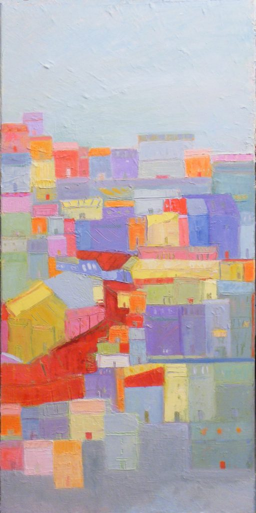 HONORABLE MENTION: Mi Barrio The Way That I Remember, Oil by Ana Rendich, 40in x 20in (July 2013)