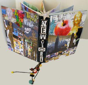 NY Delight, Mixed Media Altered Book by Darlene Wilkinson and Carol Baker, 12x18x8 (February 2013)
