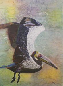 Pedantic Pelican, Watermedia by Bev Bley, Unframed 29in x 21.5in Framed 36in x 28 (April 2013)