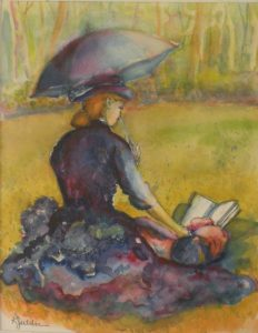 Perfect Pastime, Watercolor by Karen Julihn, 13x10 Framed 20x18 (February 2013)
