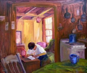 Reading Thoreau in the Dune Shed, Oil by Lynn Mehta, 20x24 (February 2013)