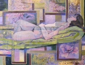 Repose, Collage and Oil by Sallly Rhone-Kubarek, 20inx26in (March 2013)
