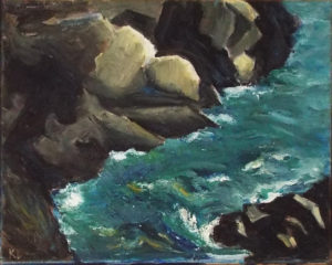 Rocky Cliffs, Oil by Katherine (Kate) Dervin, 8in x 10in, NFS (April 2018)