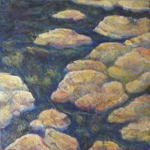 Rocky Stream, Acrylic Layers by Robyn Ryan, 12in x 12in (August 2013)
