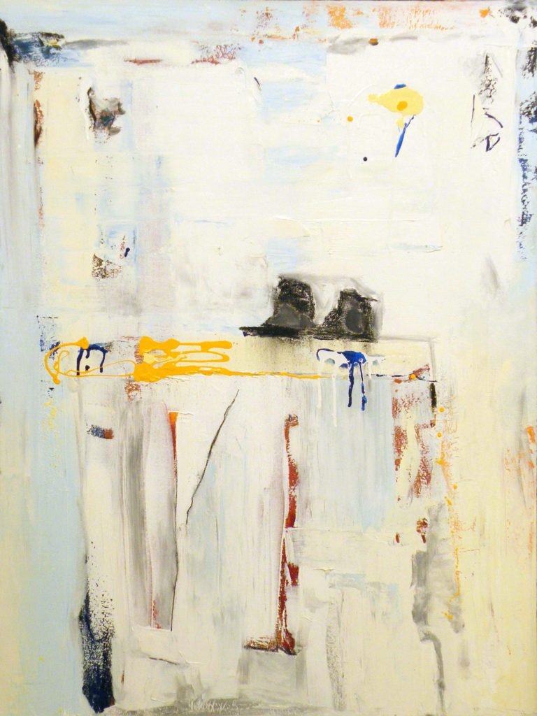 FIRST PLACE: Side Walk Story, Oil, Charcoal, Enamel on Canvas by Sarah Lapp, 48in x 36in x 1.5 (June 2013)