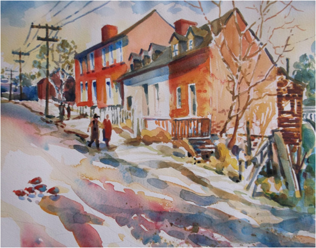 HONORABLE MENTION: Sophia Street Houses, Watercolor by Marcia Chaves, 11in x 14in, $250 (April 2018)