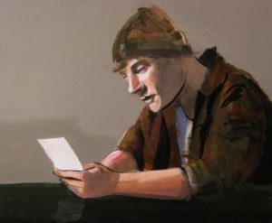 The Letter, Acrylic on Board by Steven Rushefsky, 14inx17in (March 2013)