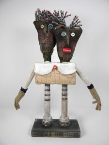 Two Heads are Better Than One, Mixed Media by Pat Kumicich, 13inx7inx2.5in (March 2013)