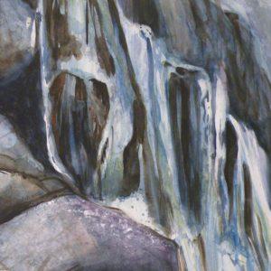 Waterfall, Watercolor by Karen Julihn, 15in x 15in (August 2013)