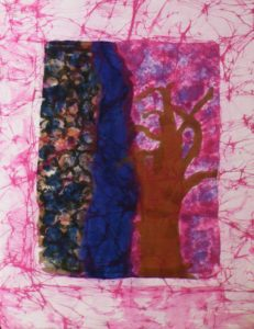 Why is the Redbud purple, Batik by Mary Lazar (June 2013)