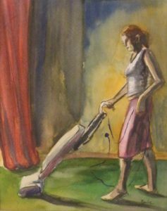 Woman Cleaning, Watercolor by Keith P. Beale, 10inx8in Framed 18inx15in (March 2013)