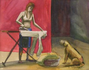 Woman Ironing, Watercolor by Keith P. Beale, 8inx10in Framed 15inx18in (March 2013)