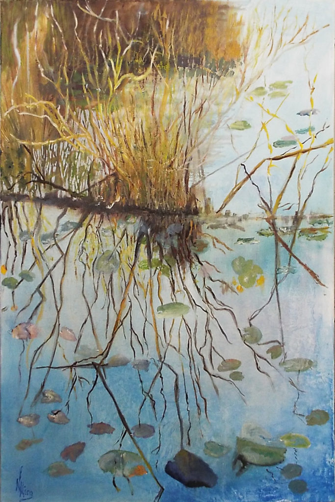 SECOND PLACE: Anihinga Trail, Oil by Nancy Wing, 36in x 24in, $400 (May 2018)