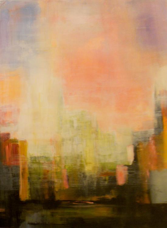 HONORABLE MENTION: Awakening City, Acrylic by Barbara Taylor Hall (September 2013)