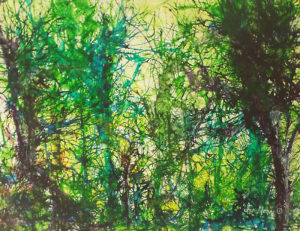 Deep Woods, Alcohol Print on Yupo Paper by Ina Moss, 20in x 26in, $650 (May 2018)