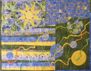 Mid-day Machais, ME - Sun Over the Atlantic, Fabric Mixed Media by Linda J. Kaup (September 2013)