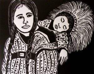 Ode to the Inuit, Relief Block Print by Linda Larochelle, Size 19in x 24in (October 2013)