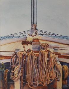 Tied Lined, Watercolor by Lizabeth Castellano-King, 18in x 14in, $1250 (May 2018)