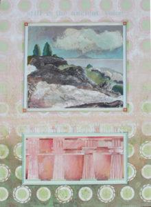 """Beneath the Mount #1, Oil monotype, oil, gouache, graphite on paper by Joseph Di Bella, 39"""" x 31"""", $800 (June 2018)"""