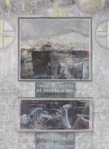"""Beneath the Mount #9, Oil monotype, oil, gouache, graphite on paper by Joseph Di Bella, 39"""" x 31"""", $800 (June 2018)"""
