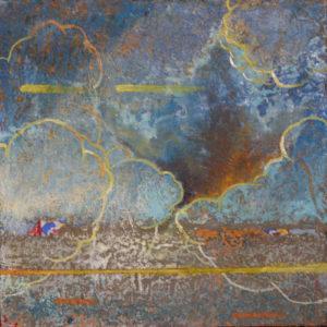 """Cloud Fracture #3, , Oil, wax,  brass filing, egg tempera by Joseph Di Bella, 10"""" x 10"""", $250 (June 2018)"""