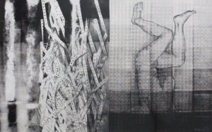 "Fallen Figure-To Goya, Acrylic monotyope, charcoal on paper by Joseph Di Bella, 24"" x 38"", $800 (June 2018)"