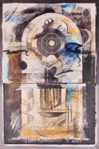 "Faux Pax #3, , Mixed mediums on wood by Joseph Di Bella, 29""x 20"", $450 (June 20180)"