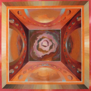 """Frame of Reverence-Edifice, Oil on copper on wood by Joseph Di Bella, 25.5"""" x 25.5"""", $900 (June 2018)"""