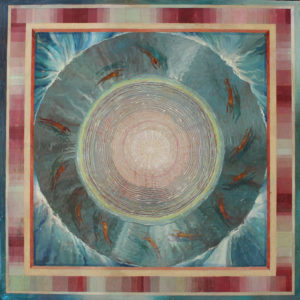 """Frame of Reverence-Pool, Oil on copper on wood by Joseph Di Bella, 25.5"""" x 25.5"""", $900 (June 2018)"""