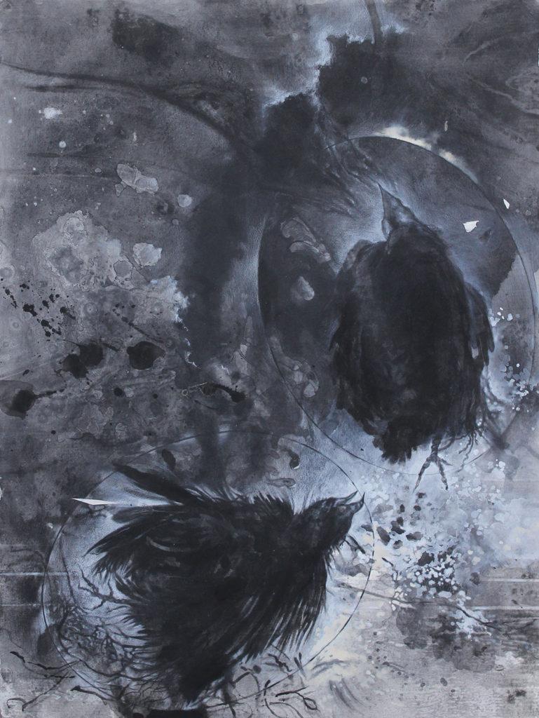 "Futile Flight #7, Mixed black and white mediums on paper by Joseph Di Bella, 39"" x 31"", $700 (June 2018)"