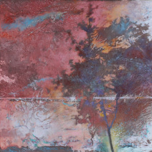 "Ghost Trees #3, Oil, wax, oil pastel on wood by Joseph Di Bella,18"" x 18"", $450 (June 2018)"