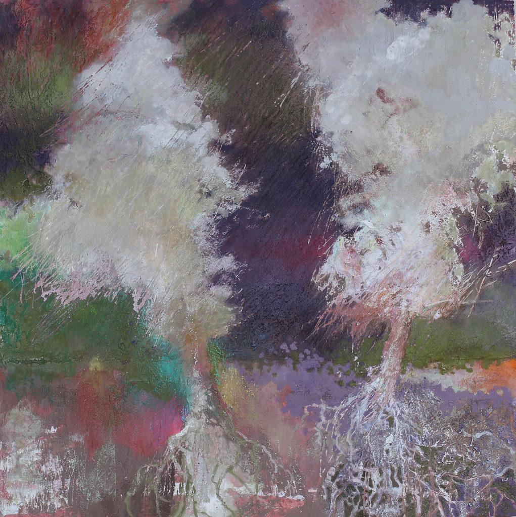 "Ghost Trees #4, Oil, wax, oil pastel on wood by Joseph Di Bella, 18""x18"", $450 (June 2018)"