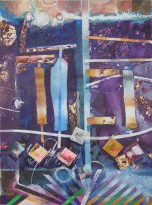 """Master Plan Interruption #4, Watercolor collage by Joseph Di Bella, 39"""" x 31"""", $650 (June 2018)"""
