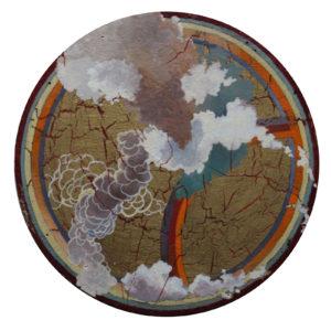 "Oculus V, Egg tempera, acrylic, wax on wood by Joseph Di Bella, 11.75"" circle, $450 (June 2018)"