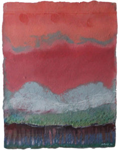 """Song for the Earth Created #1, Dyed handmade paper/ watercolor by Joseph Di Bella, 36"""" x 30"""", $350 (June 2018)"""