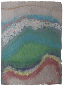 """Song for the Earth Created #6, Dyed handmade paper/ watercolor by Joseph Di Bella, 36"""" x 30"""", $350 (June 2018)"""