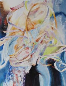 """Temporalae #8, Watercolor and gouache on paper by Joseph Di Bella, 36"""" x 30"""", $650 (june 2018)"""