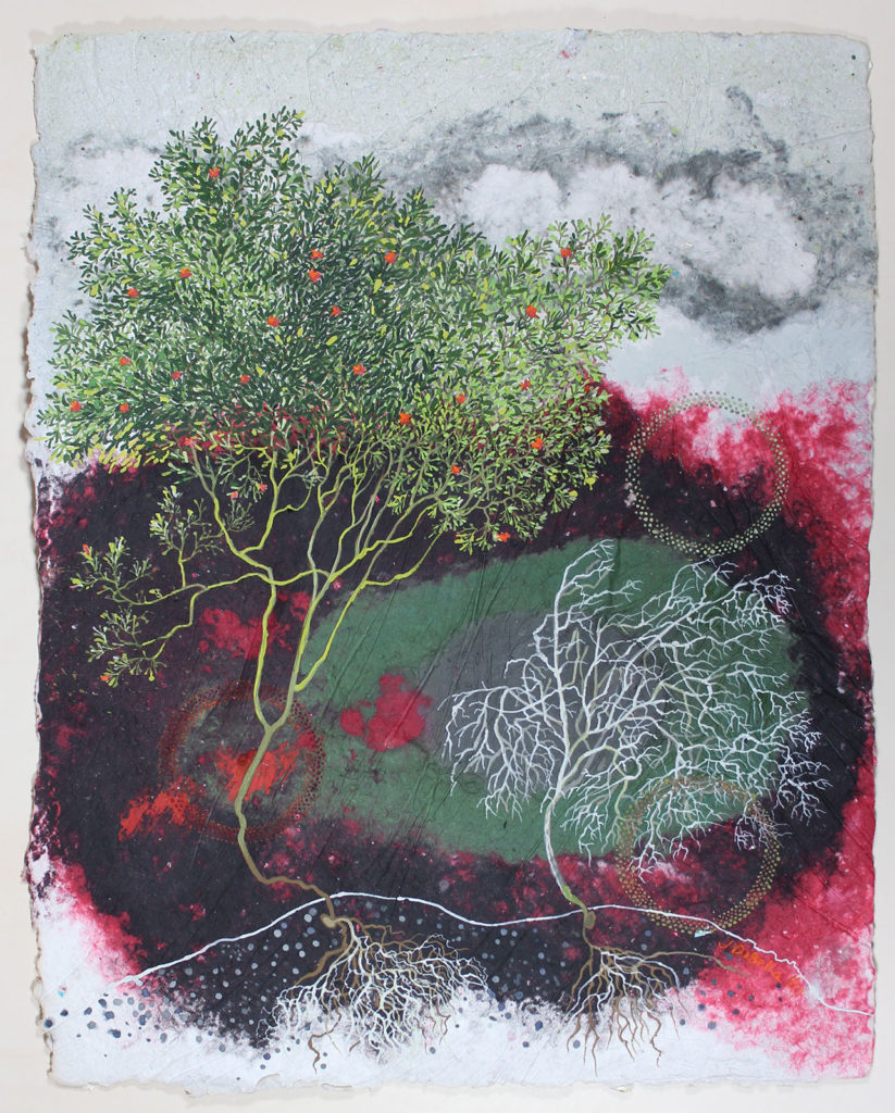 """Tree Parable (Waterfeed), Gouache, dry pigment, ashes, handmade paper by Joseph Di Bella, 39"""" x 31"""", $1,200 (June 2018)"""