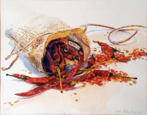 Hot Peppers, Watercolor by Lizabeth Castellano-King, 11in x 14in, $220 (July 2018)